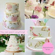 Painted wedding cake ideas. They paint or stencil on fondant for this technique. #AspirationalBride