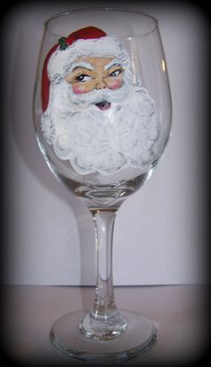 Hand Painted Santa Wine Glass by JuneBridePaints on Etsy, $25.00