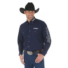 Wrangler Men's Logo Long Sleeve Button Down Solid Shirt (Size: Large) Dark Blue Cowboy Outfit For Men, Cowboy Outfits, Western Outfits, Western Shirts, Western Wear, Western Logo, Jack Daniels Shirt, Dark Haired Men, Mexican Outfit