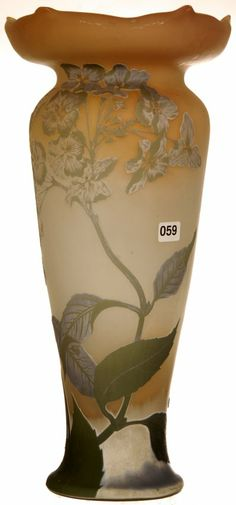 "15 1/2"" SIGNED *GALLE FRENCH CAMEO ART GLASS VASE, FOUR COLOR WITH LEAF AND BLOSSOM DECOR, FLARED RIM"