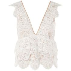 Topshop Petite Plunge Lace Peplum Top (€27) ❤ liked on Polyvore featuring tops, ivory, peplum tops, petite lace top, petite sleeveless tops, white lace peplum top and plunging v neck top