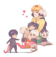 Tokyo Ghoul. Hide and all the Kanekis Credits to the artist