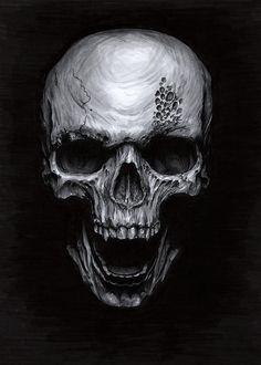 Evil Skull Art Print - Macabre Horror Illustration by Amanda Lanford White Things white color monitor Evil Skull Tattoo, Skull Tattoo Design, Skull Tattoos, Dark Artwork, Skull Artwork, Dark Fantasy Art, Art Sombre, Herren Hand Tattoos, Tattoo Ideas