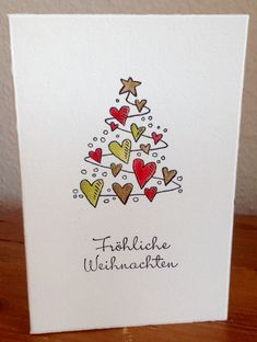 Love Heart Christmas Tree Card cards Easy DIY Christmas Card Ideas Youll Want to Send This Season Simple Christmas Cards, Handmade Christmas Tree, Homemade Christmas Cards, Christmas Tree Cards, Homemade Cards, Christmas Diy, Christmas Tree Drawing Easy, Christmas Cards Drawing, Painted Christmas Cards