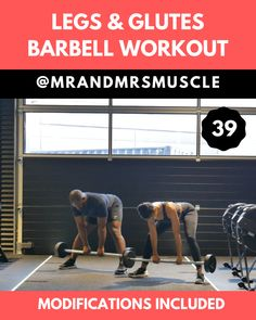 Lower body exercise with barbell. The best leg day exercise to tone your legs and build bigger glutes. Lower body exercise with barbell. The best leg day exercise to tone your legs and build bigger glutes. Full Body Hiit Workout, Hiit Workout At Home, Butt Workout, Workout Videos, Gym Workouts, At Home Workouts, Home Exercise Program, Home Exercise Routines, Workout Programs