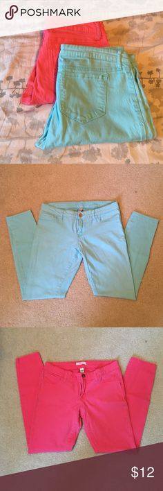Skinny jeans. Pair of colored skinny jeans!  Spring will be here before you know it!  Super soft.  Light aqua and pink! refuge Jeans Skinny