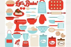 Lets Bake / Kitchen Utensil Icons by MyClipArtStore on Creative Market