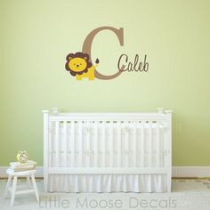 """Children Wall Decal Baby Name Monogram Vinyl - Nursery Decals Letter Child Lion $37 20""""x48"""""""