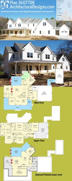 Architectural Designs House Plan 36077DK is a sprawling farmhouse plan with an angled keeping room and an open floor plan. The upstairs has 4 bedrooms - and laundry - leaving the main for entertaining. An optional finished lower level gives you room for expansion, as well as the bonus room over the 2-car garage. Ready when you are! Where do YOU want to build? Specs-at-a-glance 4-5 beds 3.5 baths 3,900+ sq. ft. + optional finished lower level Plans: https://www.architecturaldesi