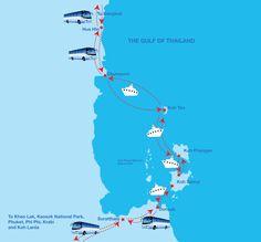 Map of Phi Phi Ferry destination routs. Khao Lak, Phi Phi Island, Koh Phangan, Bus Tickets, Work Bags, Krabi, Koh Tao, Phuket, Bangkok