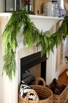 Use cedar garland to spruce up your mantelpiece this holiday season! Shop cedar garland and other Christmas Greens from around mid-November to right before Christmas at GrowersBox.com!
