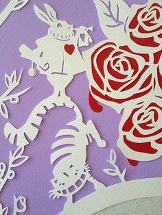 Alice in Wonderland custom papercut Ketubah.  See more at:  www.papercutsbyoren.com or www.etsy.com/shop/papercutsbyoren #ketubah #papercut