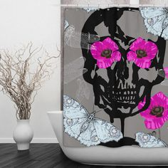 Sugar Skull Shower Curtain Hot Pink Poppies With Black Skull Ice Blue... ($69) ❤ liked on Polyvore featuring home, bed & bath, bath, shower curtains, bathroom, black, home & living, shower curtains & rings, personalized shower curtains and dragonfly shower curtains
