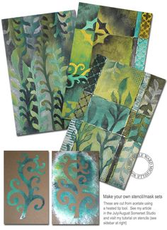 Stencil art how to cut stencils with wood burning tool, tyvek paper stencil cutting, Michelle Ward rubber stamp artist of many of the stampers anonymous stamps. Brilliant work!