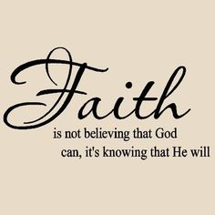 Faith is not believing that God can it's knowing that he will Vinyl Lettering Wall Sayings Home Art Decor by Wall Sayings Vinyl Lettering, http://www.amazon.com/dp/B0028QUGGM/ref=cm_sw_r_pi_dp_Cevrqb0NE9K95