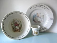 Peter rabbit set, peter rabbit breakfast set, peter rabbit egg cup, peter rabbit bowl, peter rabbit plate, wedgwood by thevintagemagpie01 on Etsy Breakfast Set, Christening Gifts, Peter Rabbit, Wedgwood, Decorative Plates, Take That, Tableware, Handmade Gifts, Egg