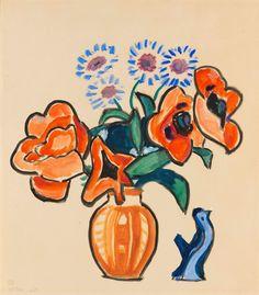"""Gabriele Münter (German painter) 1877 - 1962 Blumenstillleben mit Vögelchen (Türkenmohn und Flockenblumen mit Vögelchen), 1954 tempera and oil on wove paper 48.5 x 43 cm. (19 x 16.9 in.). monogrammed and inscribed with work number """"B.B.3/54 16.VI""""..."""