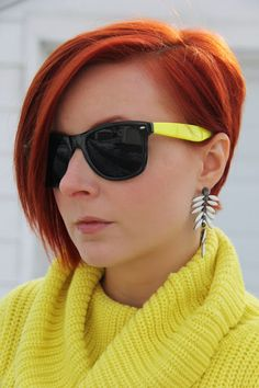 Thrift and Shout blog: Cute Outfit of the Day: Winter Brights; thrift, winter fashion, neon, red hair,, asymmetrical haircut, undercut, turtleneck sweater, Moda International, Forever 21, statement earrings, lace up booties