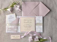 Romantic Wedding Invitation Pink and Lace 100 por forlovepolkadots