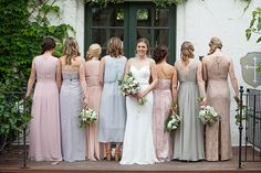 Mix and match neutral colors to make a simply unique wedding party! Mixed Bridesmaid Dresses, Bridesmaids, Wedding Dresses, California Wedding, Southern California, Tuxedo For Men, Rustic Outdoor, Wedding Rustic, Neutral Colors
