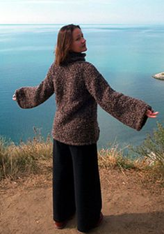 easy sweater for beginner...knitted in the round might try without the turtle neck