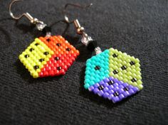 Fun Rainbow Dice Seed Beaded Dangle Earrings Made by fantasybeader, $14.50