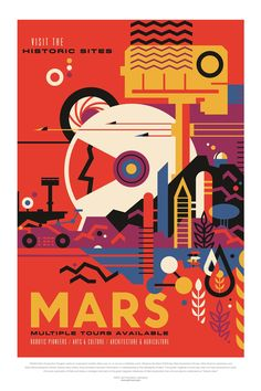"V&A on Twitter: ""This poster was part of a series called ""Visions of the Future"" that @NASA created to motivate their scientists, working on travelling to Mars and beyond. Discover a vision of the future at #TheFutureStartsHere from 12 May: https://t.co/wuWunNZ09c… https://t.co/P1zLs8ROrP"""