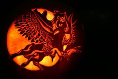 Amazing pumpkin carving! Pegasus Dragon flying