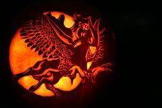 Amazing pumpkin carving! Pegasus Dragon flying