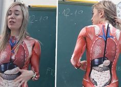 Teacher Gives Anatomy Lesson In A Full-Body Suit That Maps Out The. You are in the right place abo Full Body Suit, Visual Aids, Social Science, Long Sleeve Bodysuit, Student Learning, Human Body, Most Beautiful Pictures, Anatomy, Things To Think About