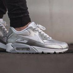 nike sportswear air max 90 premium - sneakers - white/metallic silver