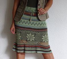 crochet skirt, lace skirt, summer skirt, green skirt, fine crochet, boho skirt, country, folk, knit skirt, cotton, M size, ready to ship