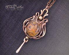 Jasper stone pendant necklace, wire wrapped jewelry handmade, yellow, copper necklace. $100.00, via Etsy.