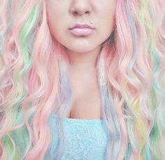 nice In love with her pastel mermaid hair x. Pastel Rainbow Hair, Dyed Hair Pastel, Pink Hair, Colorful Hair, Dye My Hair, New Hair, Pelo Multicolor, Color Fantasia, Hair Dye Colors
