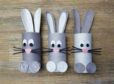 Osterhasen aus Klopapierrollen basteln – nurrosa Making Easter bunnies out of toilet paper rolls - o Arts And Crafts Box, Creative Arts And Crafts, Preschool Crafts, Easter Crafts, Crafts For Kids, Useful Origami, Origami Easy, Origami Box With Lid, Rolled Paper Art