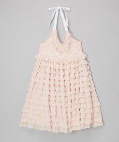 Look at this Kowgirl Lace Blush Ruffle Halter Dress - Toddler & Girls on #zulily today!