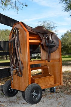 A mobile saddle stand/tack crate- great for busy barns where you might have to…