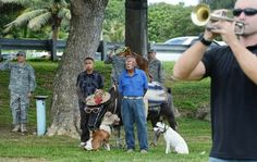 Two- and four-legged village residents and military servicemen attended the Guam Liberation Memorial Ceremony in Asan on July 19, 2013