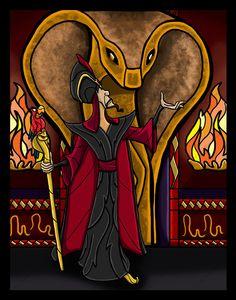 Jafar and Iago by Red Jessica by ArtbyRedJessica Best Villains, Evil Villains, Disney Villains, Disney Animation, Animation Film, Aladdin Art, Disney Stained Glass, All Disney Movies, Disney Animated Films