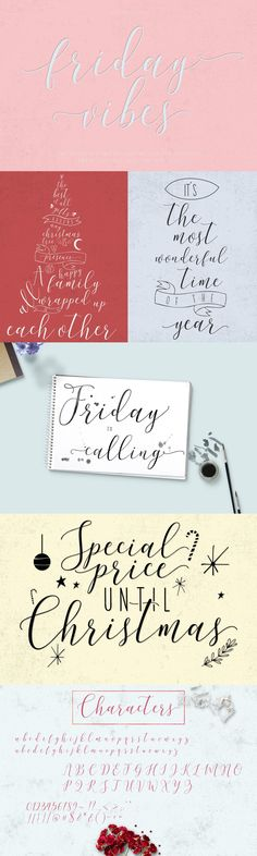 Hello! It's November here! We hope that you have had a wonderful year so far, and also now is the time for preparing your holidays ready. Very excited to launch the 3rd font this year, so get creative with our latest font Friday Vibes . Friday Vibes completed with contextual alternate, ligature, stylistic alternate, swash, ss01-ss06 . Inside the zip file you'll discover OTF and TTF font files, Hope you enjoyed Friday Vibes Thanks! Ttf Fonts, Script Fonts, Latest Fonts, Very Excited, 3 Things, November, Product Launch, Friday, Thankful