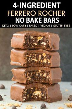No Bake Ferrero Rocher Bars (Paleo Vegan Keto Sugar Free Gluten Free)-An easy recipe for chocolate hazelnut no bake bars using just 4 ingredients! Easy delicious low carb ketogenic dessert bars which take less than 5 minutes to whip up! Keto Desserts, No Bake Desserts, Dessert Recipes, Keto Desert Recipes, 4 Ingredient Desserts, Cookbook Recipes, Plated Desserts, Dinner Recipes, Vegan Chocolate Bars