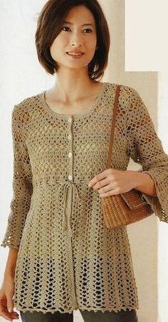 Granny stitch, mesh and shells cardigan Gilet Crochet, Crochet Cardigan Pattern, Crochet Tunic, Cute Crochet, Crochet Clothes, Crochet Top, Crochet Patterns, Crochet Woman, Crochet Fashion