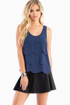 Blue scalloped top by Tobi