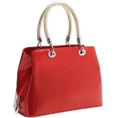 ANJALI Red Chic Synthetic Patent Leather Top Double Braided Handle Satchel Tote Evening Bag Handbag Purse,$35.50