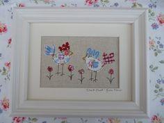 Handmade Framed Textile Art Hens Chickens, Cath Kidston Fabrics, applique