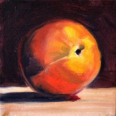 Peach Still Life Oil Painting Original Square Format Art by smallimpressions