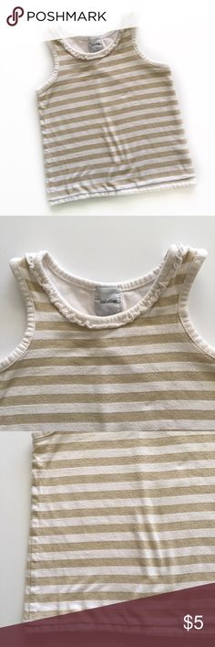 ✨Baby Gap Sparkle Tank✨ Adorable white with gold sparkly stripes and a ruffled neckline. Excellent Used Condition. GAP Shirts & Tops Tank Tops