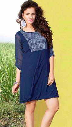 Fashionable Beautiful Blue Viscose Kurti