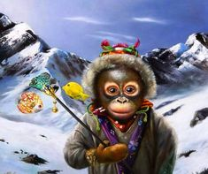 Painting Champions by Wim Bals. An artwork with Golf playing animals in a landscape Monkey Business, Lemur, Drawings, Artwork, Painting, Oil, Beautiful, Posters, Wallpapers