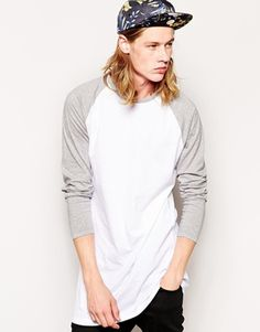 ASOS Super Longline Long Sleeve T-shirt With Contrast Raglan Sleeves